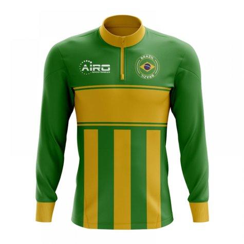 Brazil Concept Football Half Zip Midlayer Top (Green-Yellow)
