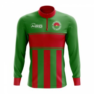 Burkina Faso Concept Football Half Zip Midlayer Top (Green-Red)