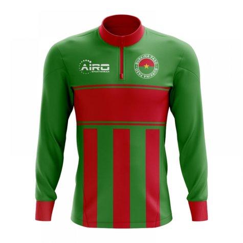 Burkina Faso Concept Football Half Zip Midlayer Top (Green-Red)