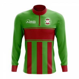 Burundi Concept Football Half Zip Midlayer Top (Green-Red)