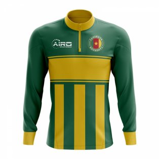 Cameroon Concept Football Half Zip Midlayer Top (Green-Yellow)