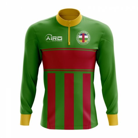 Central African Republic Concept Football Half Zip Midlayer Top (Green-Red)