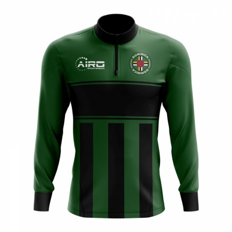 Dominica Concept Football Half Zip Midlayer Top (Green-Black)