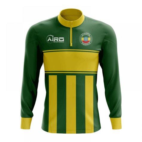 Ethiopia Concept Football Half Zip Midlayer Top (Green-Yellow)