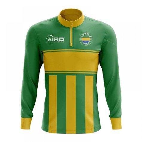 Gabon Concept Football Half Zip Midlayer Top (Green-Yellow)