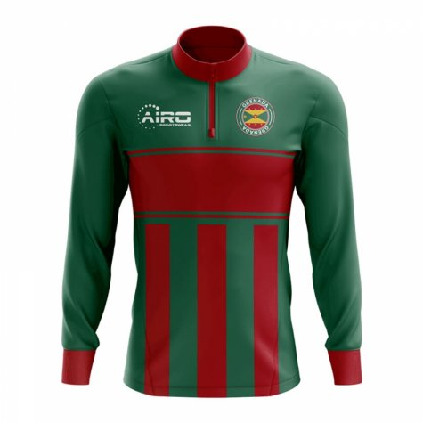 Grenada Concept Football Half Zip Midlayer Top (Green-Red)