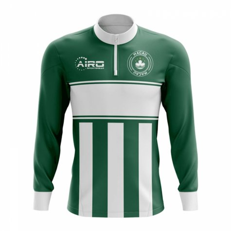 Macau Concept Football Half Zip Midlayer Top (Green-White)