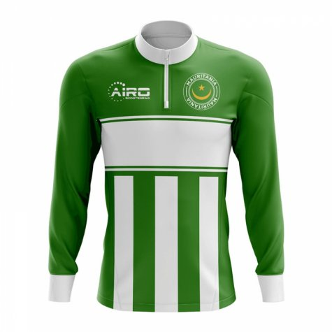 Mauritania Concept Football Half Zip Midlayer Top (Green-White)