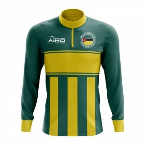 Mozambique Concept Football Half Zip Midlayer Top (Green-Yellow)