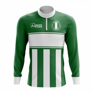Nigeria Concept Football Half Zip Midlayer Top (Green-White)