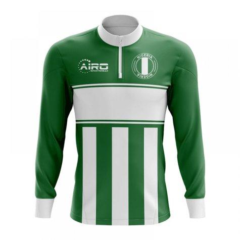 Nigeria Concept Football Half Zip Midlayer Top (Green-White)