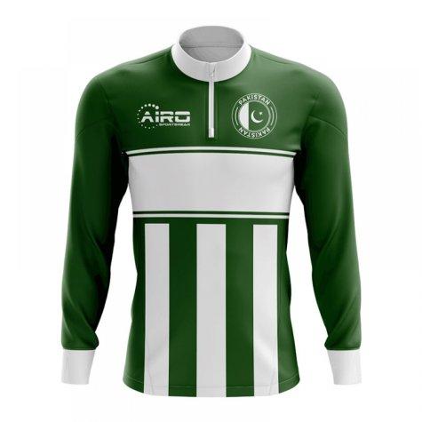 Pakistan Concept Football Half Zip Midlayer Top (Green-White)