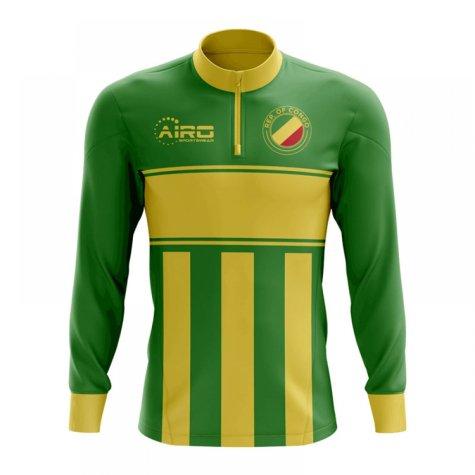 Republic of Congo Concept Football Half Zip Midlayer Top (Green-Yellow)