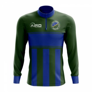 Solomon Islands Concept Football Half Zip Midlayer Top (Green-Blue)