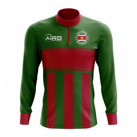 Suriname Concept Football Half Zip Midlayer Top (Green-Red)