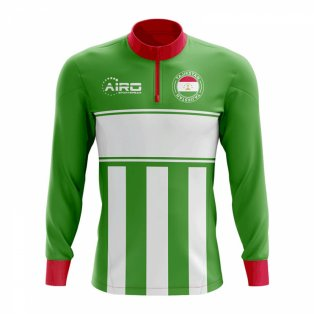 Tajikstan Concept Football Half Zip Midlayer Top (Green-White)