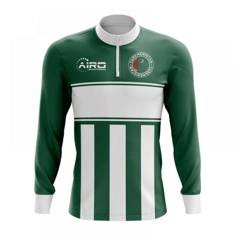 Turkmenistan Concept Football Half Zip Midlayer Top (Green-White)