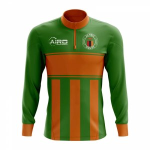 Zambia Concept Football Half Zip Midlayer Top (Green-Orange)