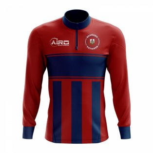 Bermuda Concept Football Half Zip Midlayer Top (Red-Blue)