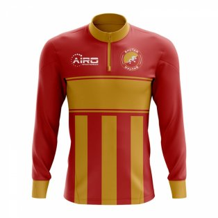 Bhutan Concept Football Half Zip Midlayer Top (Red-Orange)