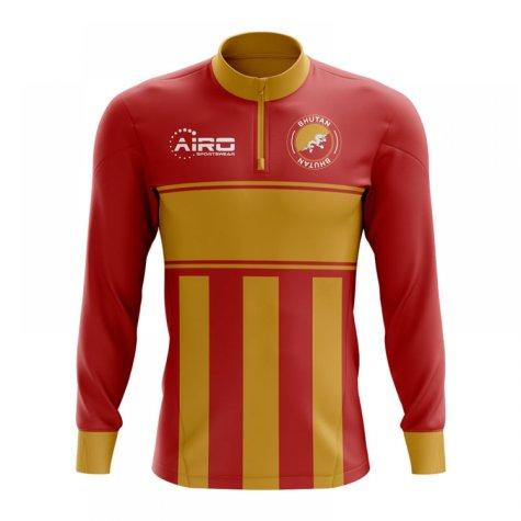 Bhutan Concept Football Half Zip Midlayer Top (Red-Orange)
