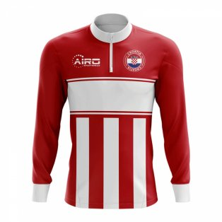 Croatia Concept Football Half Zip Midlayer Top (Red-White)