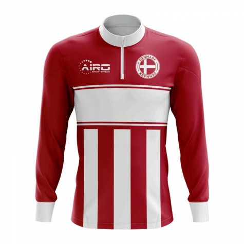 Denmark Concept Football Half Zip Midlayer Top (Red-White)