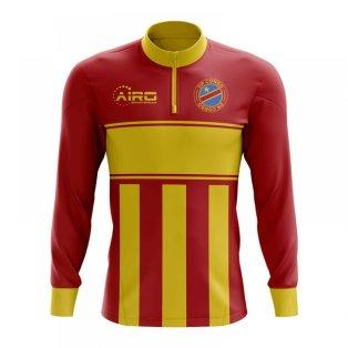 Democratic Republic of Congo Concept Football Half Zip Midlayer Top (Red-Yellow)