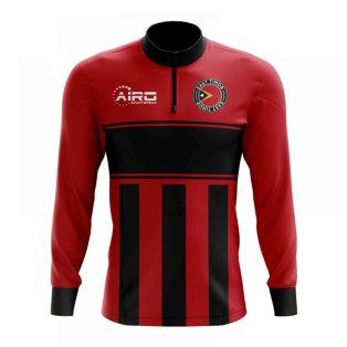 East Timor Concept Football Half Zip Midlayer Top (Red-Black)