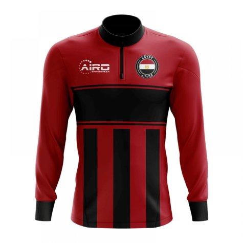 Egypt Concept Football Half Zip Midlayer Top (Red-Black)