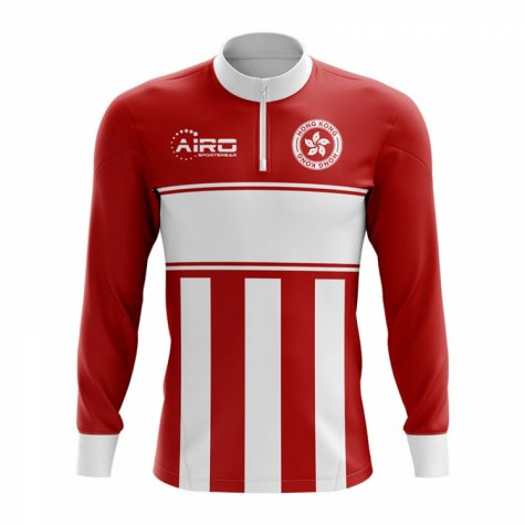 Hong Kong Concept Football Half Zip Midlayer Top (Red-White)