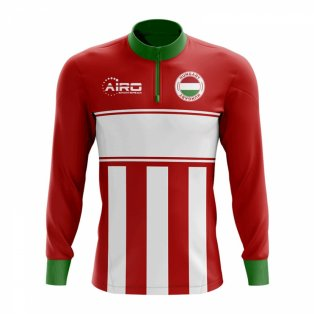Hungary Concept Football Half Zip Midlayer Top (Red-White)