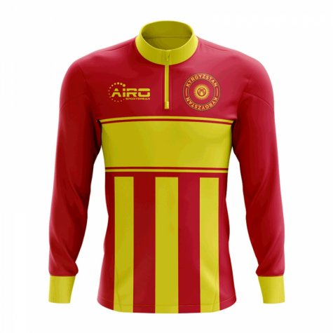 Kyrgyzstan Concept Football Half Zip Midlayer Top (Red-Yellow)