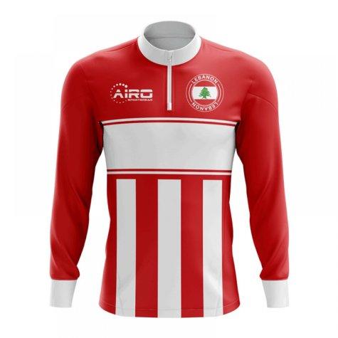 Lebanon Concept Football Half Zip Midlayer Top (Red-White)