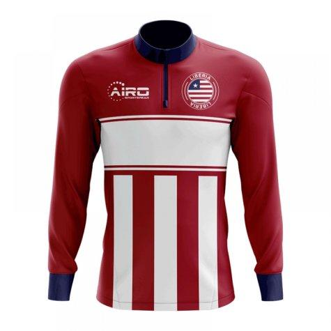 Liberia Concept Football Half Zip Midlayer Top (Red-White)