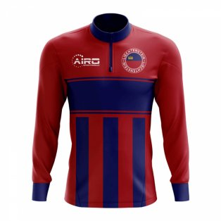 Liechtenstein Concept Football Half Zip Midlayer Top (Red-Blue)