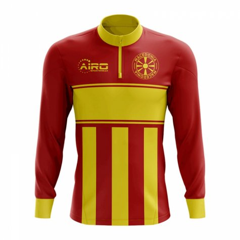 Macedonia Concept Football Half Zip Midlayer Top (Red-Yellow)
