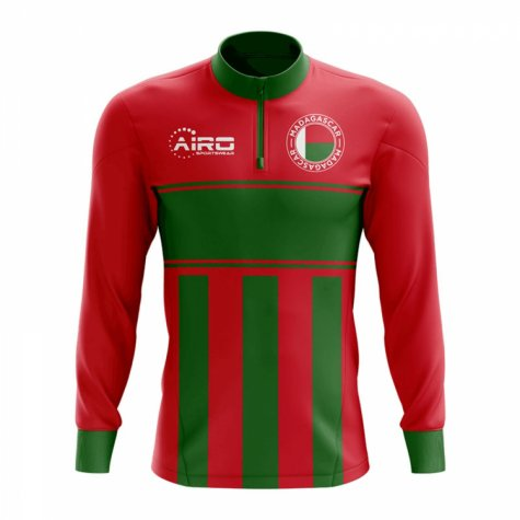 Madagascar Concept Football Half Zip Midlayer Top (Red-Green)