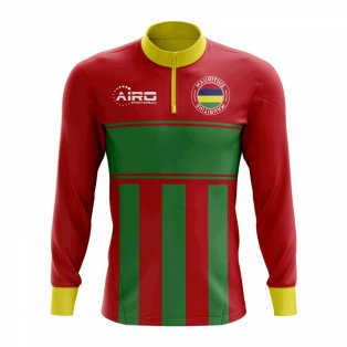 Mauritius Concept Football Half Zip Midlayer Top (Red-Green)