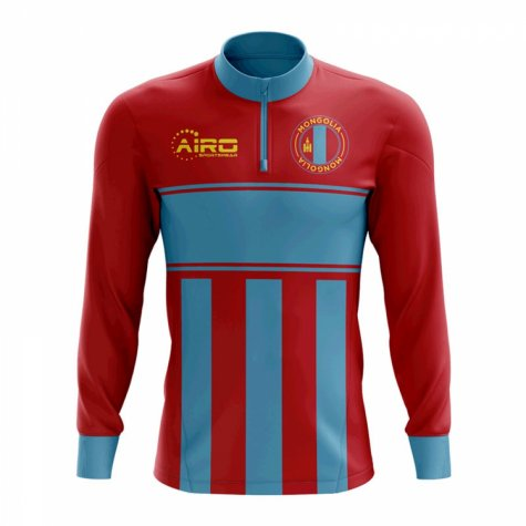 Mongolia Concept Football Half Zip Midlayer Top (Red-Blue)