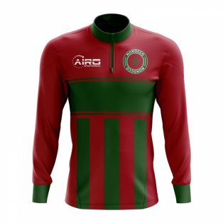 Morocco Concept Football Half Zip Midlayer Top (Red-Green)