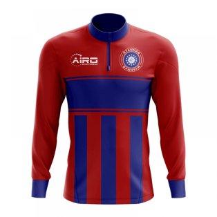 Myanmar Concept Football Half Zip Midlayer Top (Red-Blue)