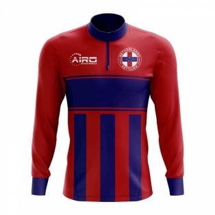 Netherlands Antilles Concept Football Half Zip Midlayer Top (Red-Blue)