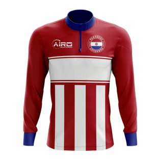 Paraguay Concept Football Half Zip Midlayer Top (Red-White)