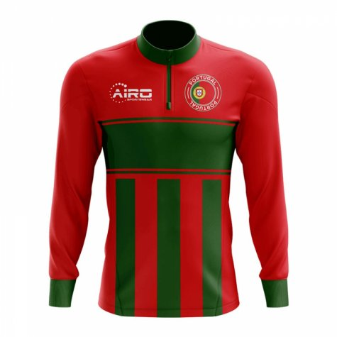 Portugal Concept Football Half Zip Midlayer Top (Red-Green)