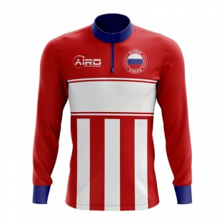 Russia Concept Football Half Zip Midlayer Top (Red-White)