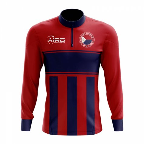 Saint Martin Concept Football Half Zip Midlayer Top (Red-Blue)