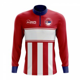 Serbia Concept Football Half Zip Midlayer Top (Red-White)