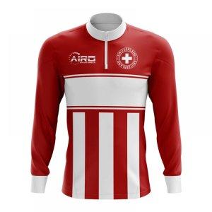 Switzerland Concept Football Half Zip Midlayer Top (Red-White)