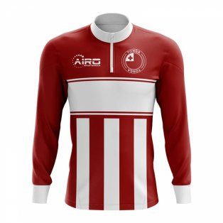 Tonga Concept Football Half Zip Midlayer Top (Red-White)
